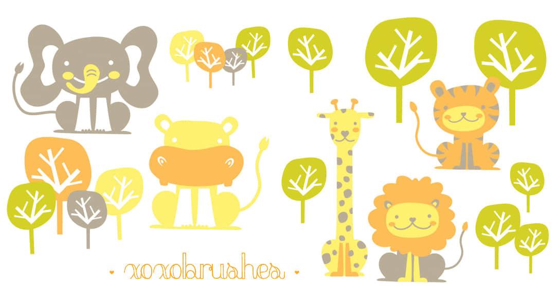 矢量卡通长颈鹿、狮子、老虎、大象Photoshop笔刷 美图笔刷 照片装备笔刷 可爱笔刷 动物笔刷  %e5%8d%a1%e9%80%9a%e7%ac%94%e5%88%b7