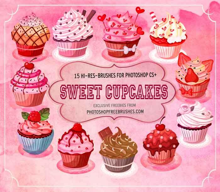 15种美味的纸杯蛋糕PS卡通笔刷 蛋糕笔刷 美图笔刷 纸杯蛋糕笔刷 照片装饰笔刷 可爱笔刷  %e5%8d%a1%e9%80%9a%e7%ac%94%e5%88%b7