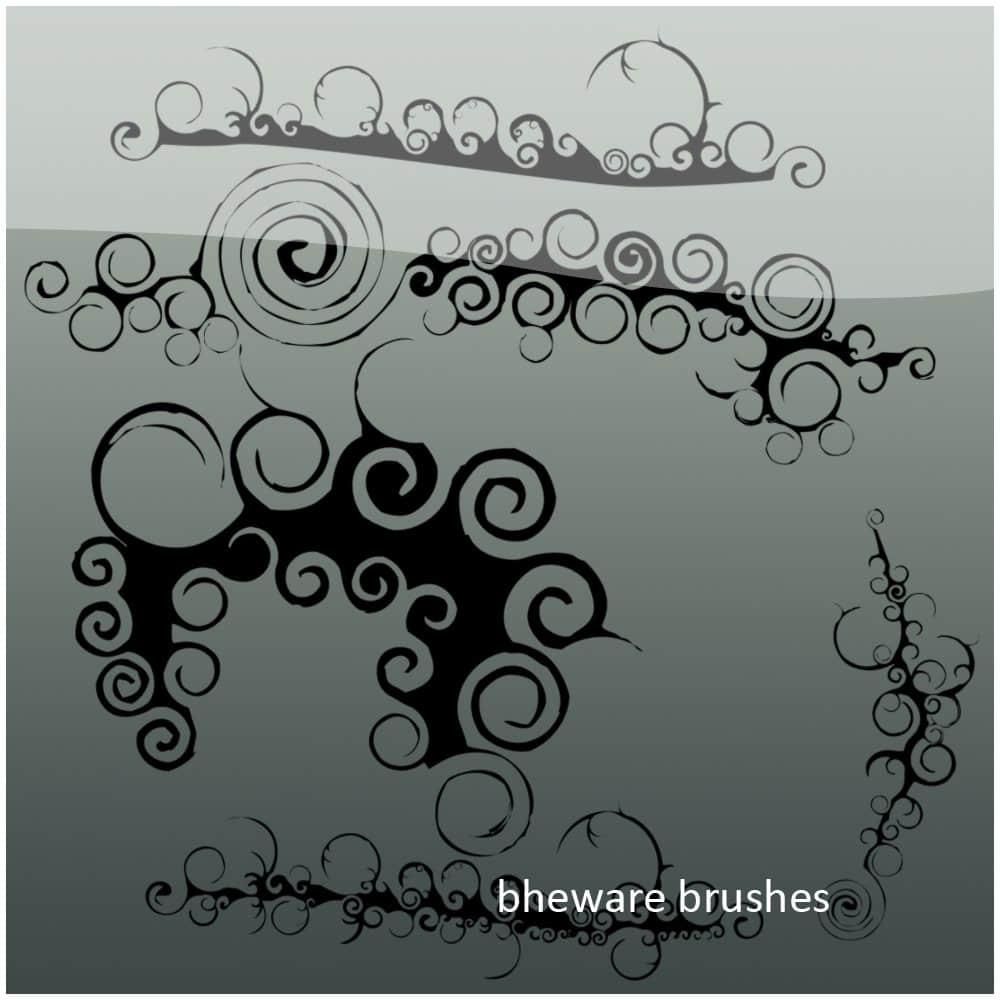 涂鸦旋转花纹图案Photoshop笔刷素材下载 旋转图案笔刷  adornment brushes