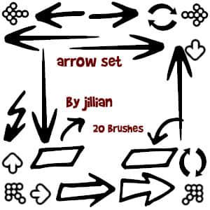 简单手绘箭头标记图案PS笔刷下载 箭头笔刷 标记笔刷  symbols brushes