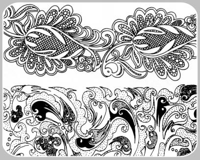 20种漂亮的经典手绘植物印花PS笔刷下载(PNG图片素材) 植物花纹笔刷 印花笔刷  flowers brushes