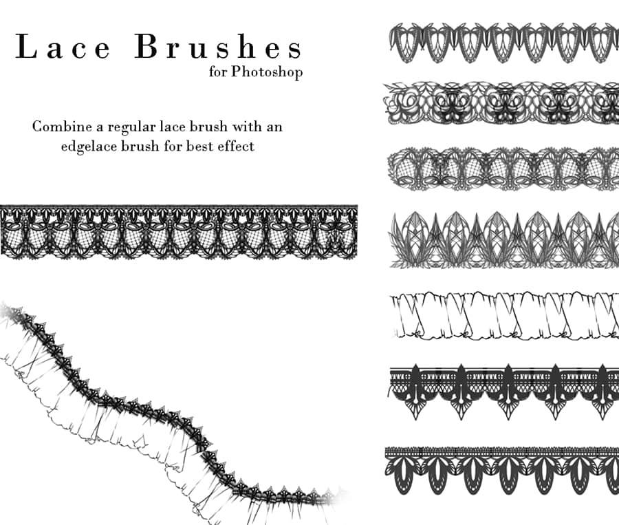 漂亮的另类蕾丝边花纹饰品图案PS笔刷下载 蕾丝边笔刷 花边笔刷  adornment brushes