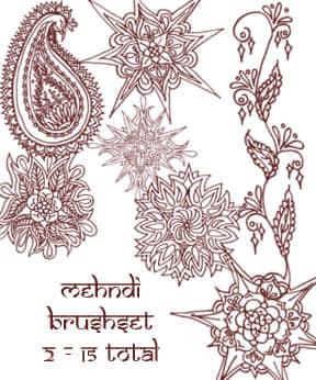 漂亮精美的手绘印花图案Photoshop笔刷下载 手绘花纹笔刷 印花笔刷  flowers brushes
