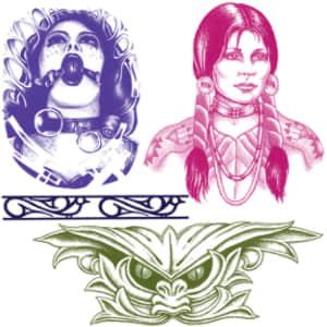 欧美刺青、纹身图案PS笔刷下载 纹身笔刷  adornment brushes