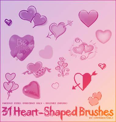 漂亮的情人节爱心图案PS笔刷下载 爱心笔刷 情人节笔刷  love brushes