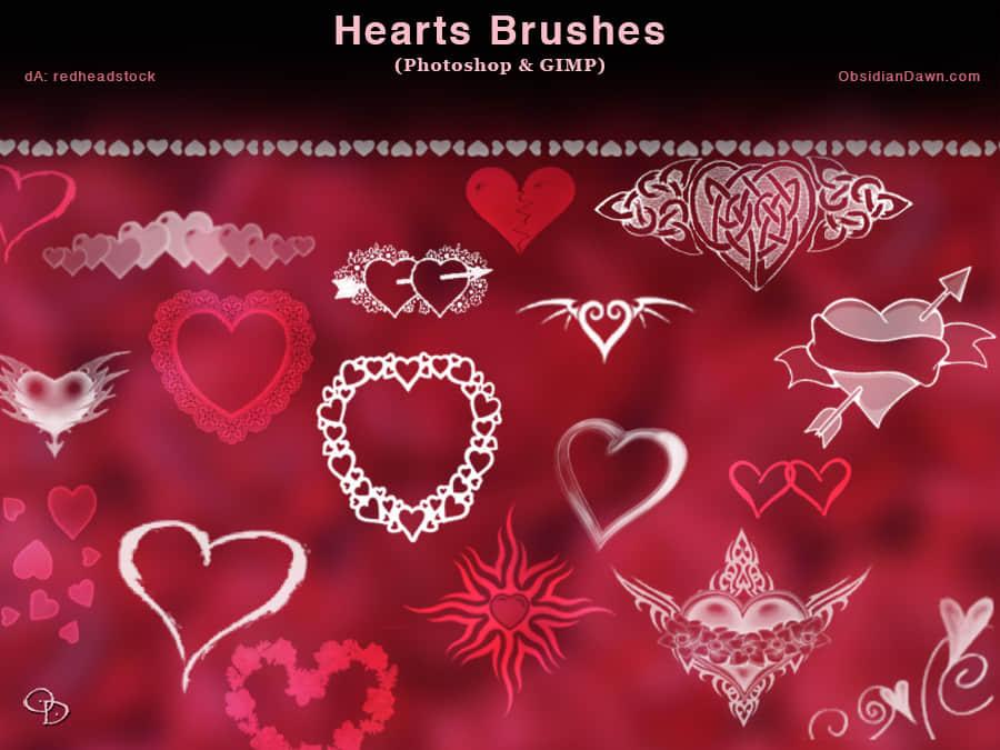 各种情人节爱心饰品PS爱心笔刷下载 爱心笔刷 情人节笔刷  love brushes