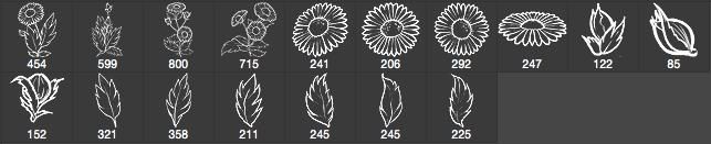 漂亮的手绘鲜花图案、野花Photoshop笔刷下载 鲜花笔刷 花朵笔刷  flowers brushes