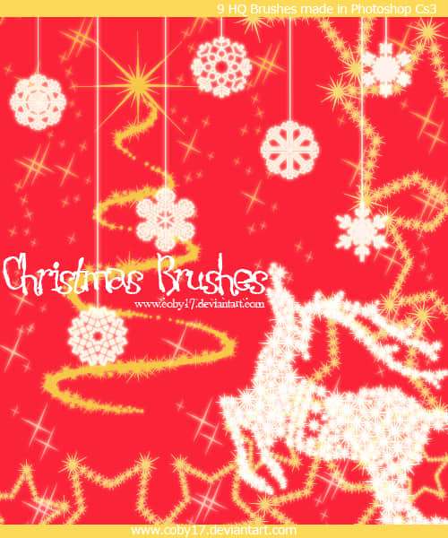 圣诞节驯鹿、雪花、星星Photoshop装饰笔刷 圣诞节笔刷  adornment brushes