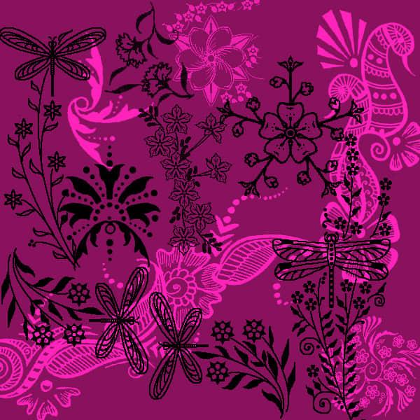 漂亮的昆虫植物花纹印花图案Photoshop笔刷下载 植物花纹笔刷 印花笔刷  flowers brushes