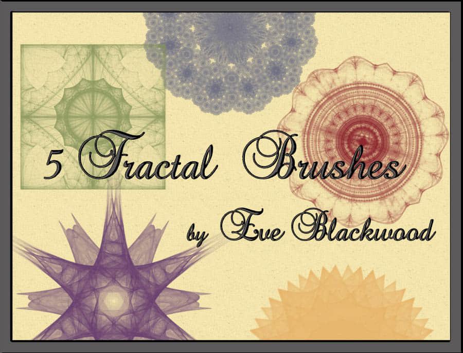 5种对称分形艺术花纹图案PS笔刷下载 对称花纹笔刷 分形笔刷  flowers brushes