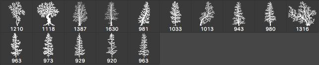 松树、雪松、圣诞树Photoshop树木笔刷 雪松笔刷 松树笔刷 圣诞树笔刷  plants brushes