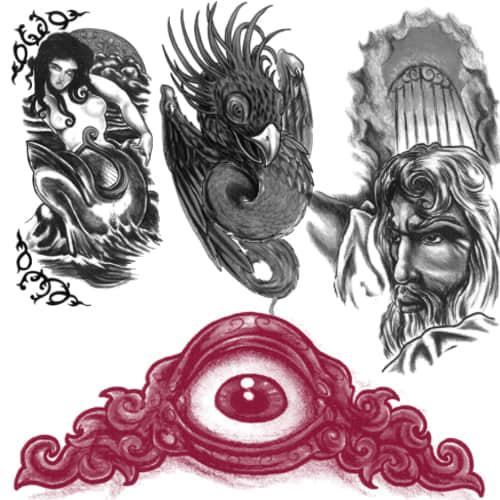 欧美神话刺青、纹身PS笔刷下载 纹身笔刷 刺青笔刷  adornment brushes