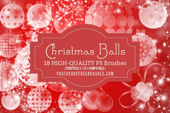 18个圣诞彩球装饰PS笔刷素材下载 节日装扮笔刷 节日笔刷 节日元素笔刷 彩球笔刷 圣诞节笔刷  adornment brushes