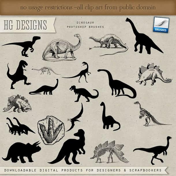 远古恐龙造型Photoshop笔刷下载 恐龙笔刷  %e5%8d%a1%e9%80%9a%e7%ac%94%e5%88%b7