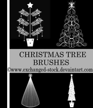 艺术圣诞树花纹图案Photoshop笔刷下载 圣诞节笔刷 圣诞树笔刷  plants brushes