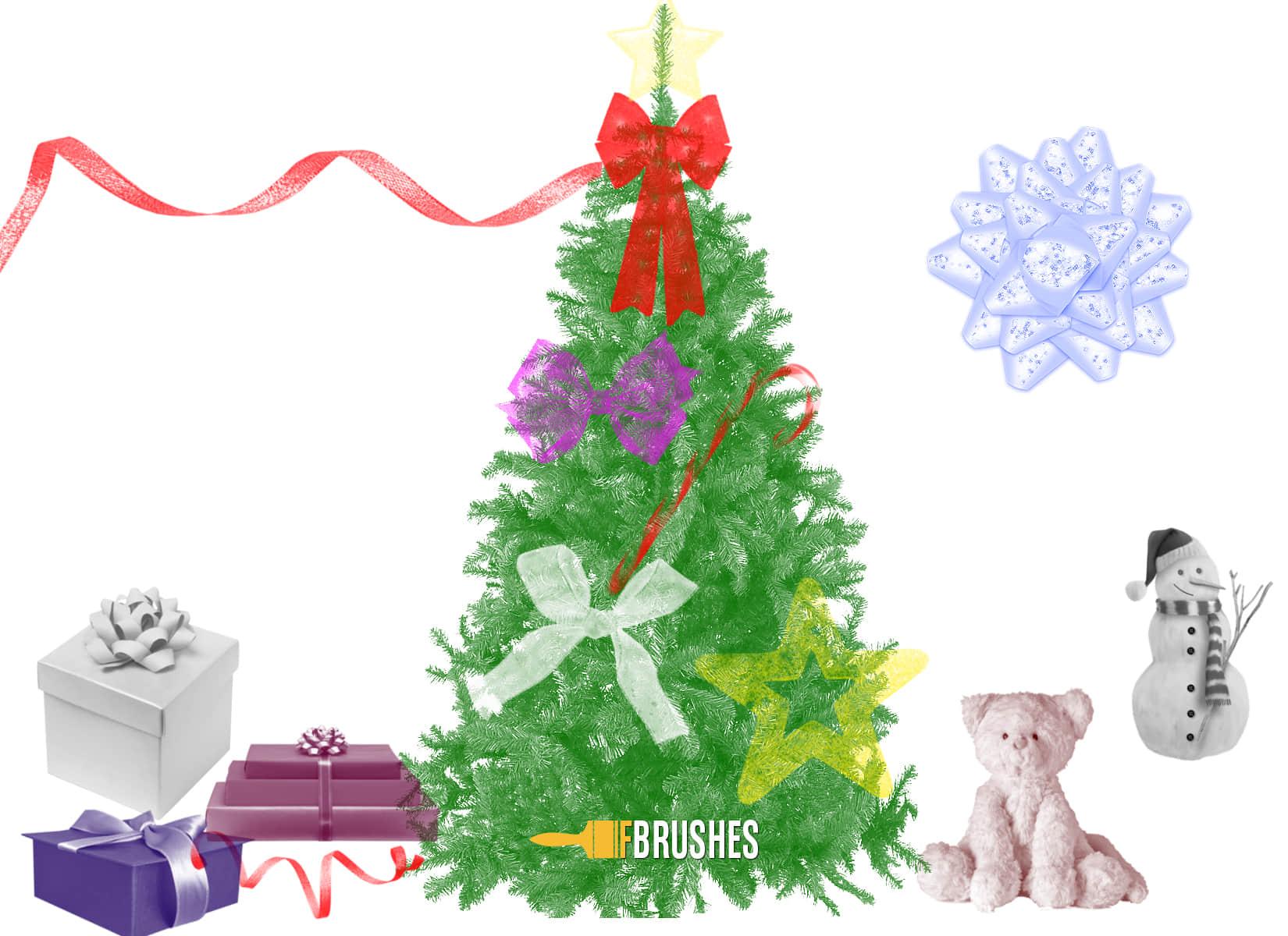 圣诞节元素饰品PS免费素材下载 节日笔刷 圣诞节笔刷  adornment brushes
