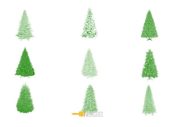 9种圣诞树PS笔刷素材下载 圣诞节笔刷 圣诞树笔刷  adornment brushes