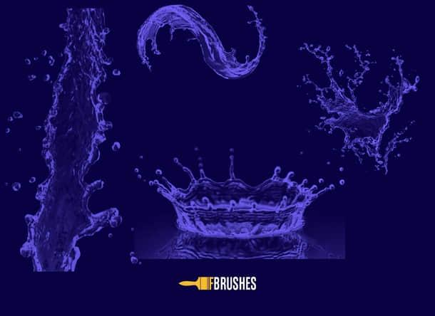 水花、水流Photoshop笔刷下载 水花笔刷 水流笔刷  water brushes