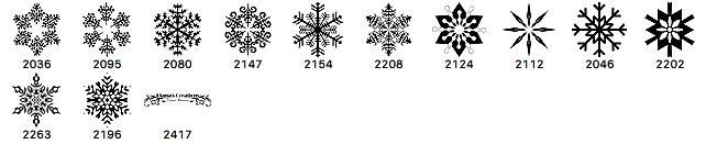 圣诞节经典雪花花纹图案Photoshop笔刷下载 雪花笔刷 圣诞节笔刷  flowers brushes