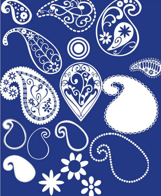 漂亮的佩斯利植物花纹Photoshop笔刷下载 植物花纹笔刷 佩斯利笔刷  flowers brushes