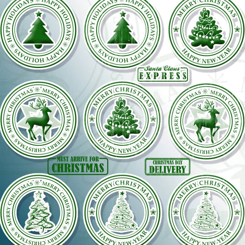 圣诞节图章、徽章、贺卡卡片邮戳PS笔刷下载 邮戳笔刷 圣诞节笔刷 图章笔刷 印章笔刷  adornment brushes