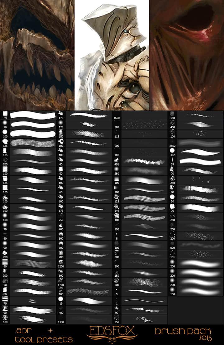 2015高品质插画艺术创作PS笔刷合集(含.TPL工具预设)下载 高品质笔刷 笔刷合集素材 数字艺术笔刷 插画笔刷 CG笔刷  photoshop brush