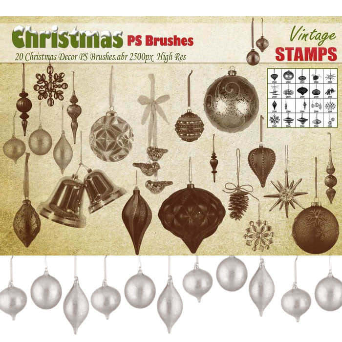 圣诞节彩球、彩灯、铃铛节日装饰品Photoshop笔刷素材下载 节日装扮笔刷 彩球笔刷 彩灯笔刷 圣诞节笔刷  adornment brushes