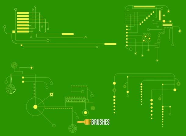 科技电子线路主板图PS笔刷下载 科技笔刷 电路图笔刷 主板电路图笔刷  background brushes