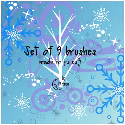 圣诞节雪花花纹、圣诞纹饰图案Photoshop装饰笔刷 雪花笔刷 圣诞节装饰笔刷 圣诞节笔刷  adornment brushes