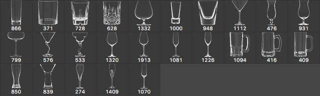 25种高脚酒杯、玻璃酒杯、葡萄酒杯PS笔刷下载  other brushes