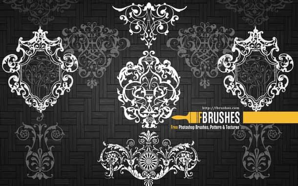 复古欧式墙壁花纹图案、贵族花纹图形PS笔刷下载 贵族花纹笔刷 植物花纹笔刷  adornment brushes flowers brushes