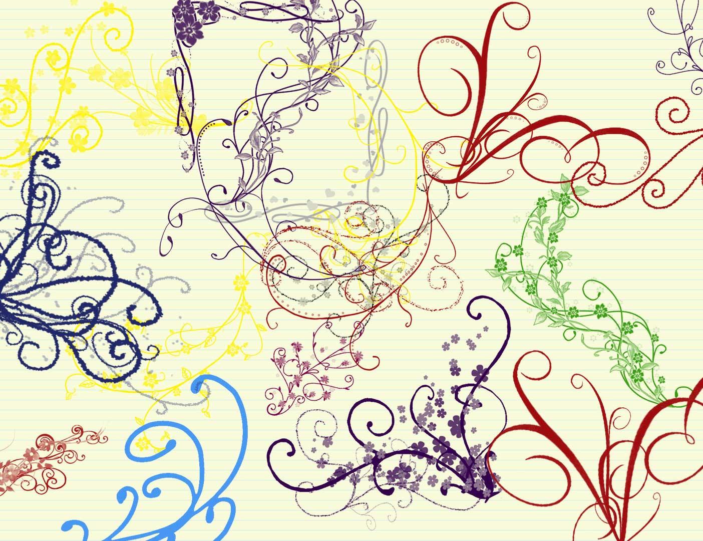 优雅的漩涡植物花纹图案PS笔刷素材下载 植物花纹笔刷 优雅的花纹笔刷  flowers brushes