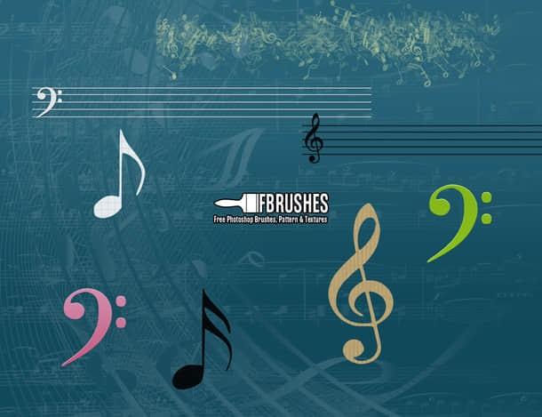 音符、音阶Photoshop音乐笔刷 音阶笔刷 音符笔刷 音乐笔刷 音乐元素笔刷  adornment brushes