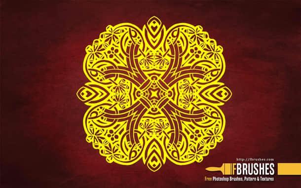 中世纪古典花纹图案Photoshop笔刷素材 植物花纹笔刷 古典花纹笔刷 印花图案笔刷  flowers brushes
