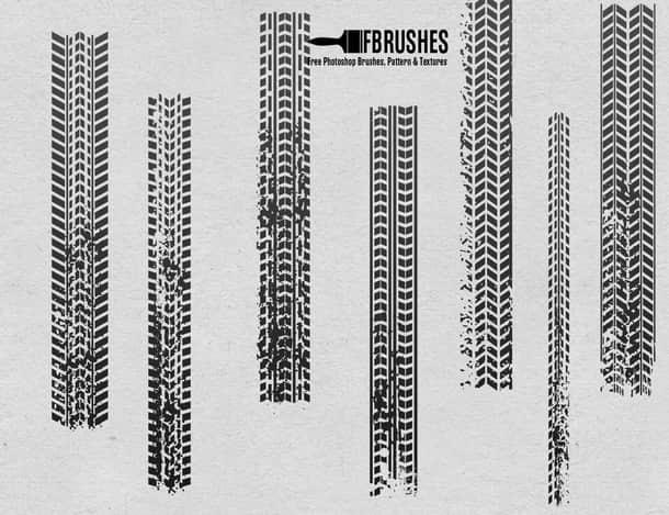 汽车轮胎印记、车轮痕迹Photoshop笔刷下载 轮胎笔刷 轮胎痕迹笔刷 车轮笔刷  other brushes