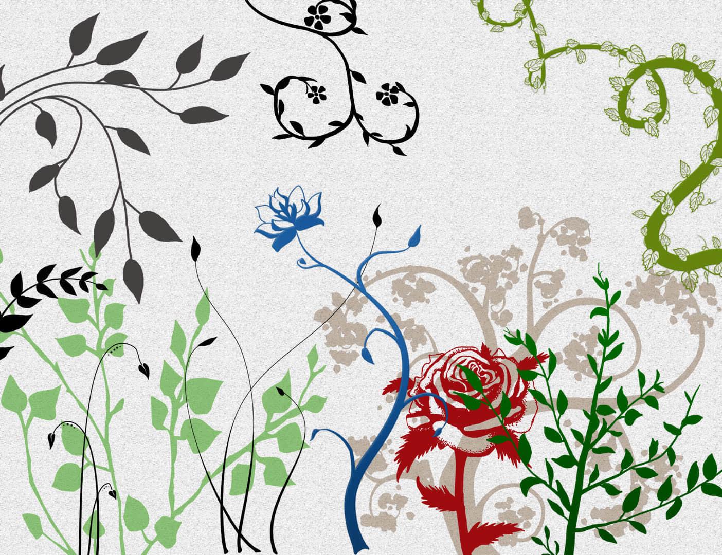 漂亮的艺术植物花纹图案Photoshop笔刷素材下载 艺术花纹笔刷 植物花纹笔刷  flowers brushes