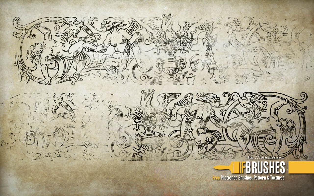 古西欧神话壁画图案PS笔刷下载 神话图案笔刷 壁画笔刷  adornment brushes