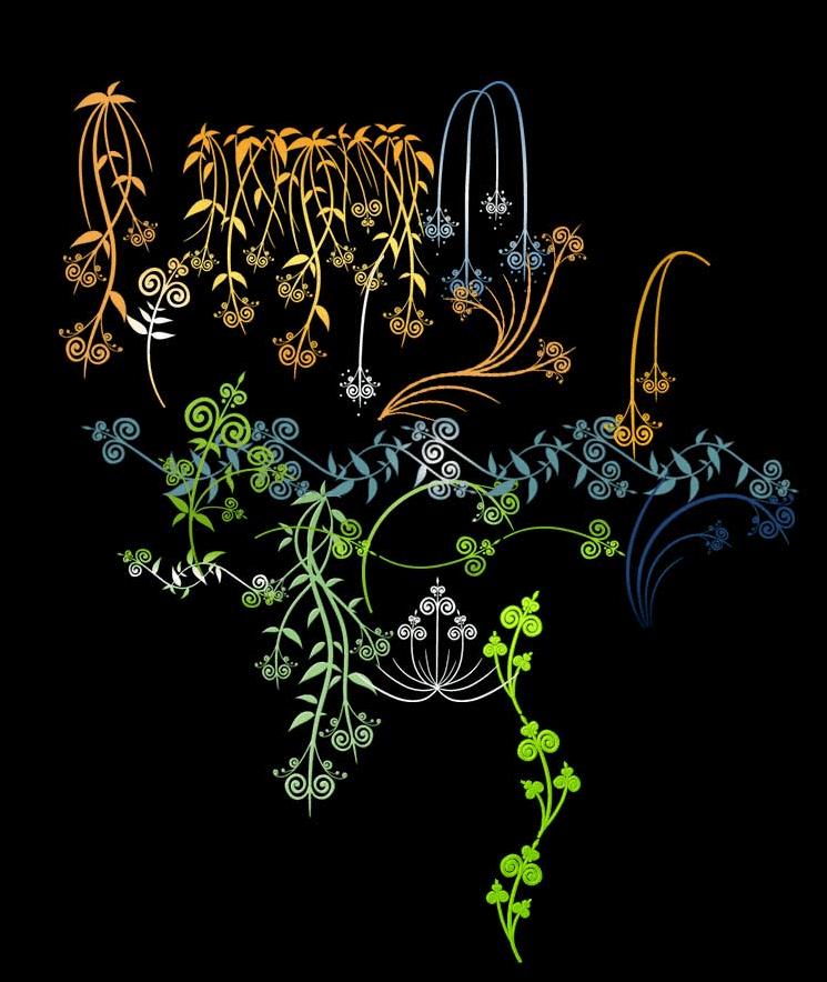 漂亮的手绘式植物花纹图案、枝条纹饰、柳条图案Photoshop笔刷 植物花纹笔刷 柳条花纹笔刷 枝条花纹笔刷 印花笔刷  adornment brushes flowers brushes
