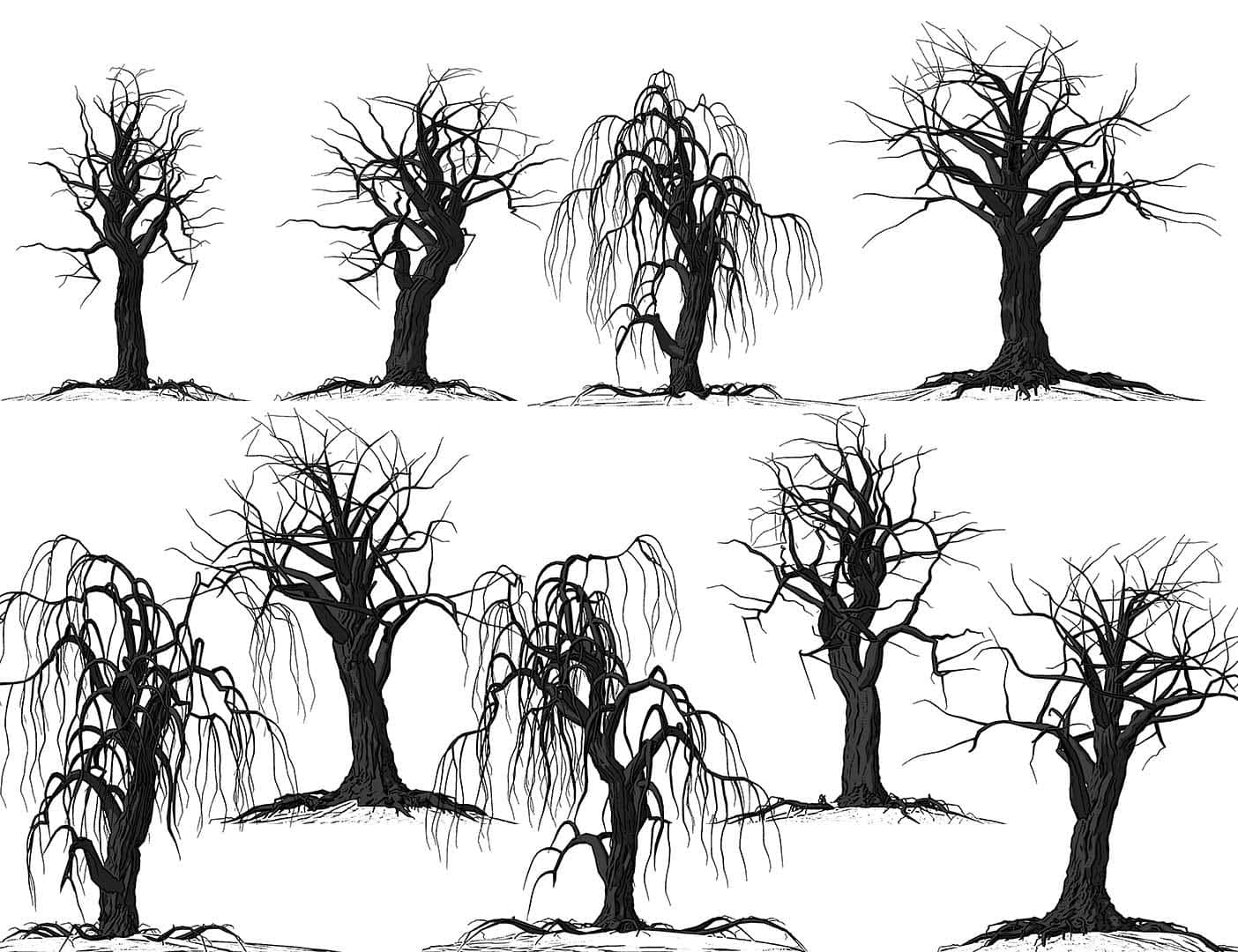 枯干的树木、恐怖大树Photoshop鬼树笔刷 鬼树笔刷 柳树笔刷 大树笔刷  plants brushes
