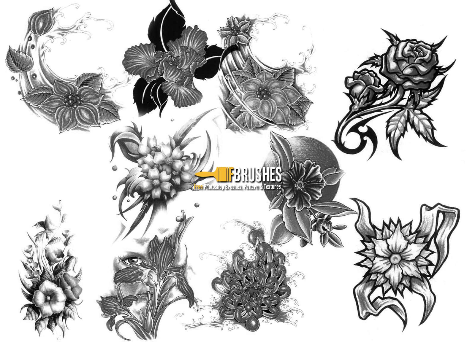 手绘素描式花朵、鲜花图案PS笔刷下载 鲜花笔刷 花朵笔刷 手绘花朵笔刷  flowers brushes
