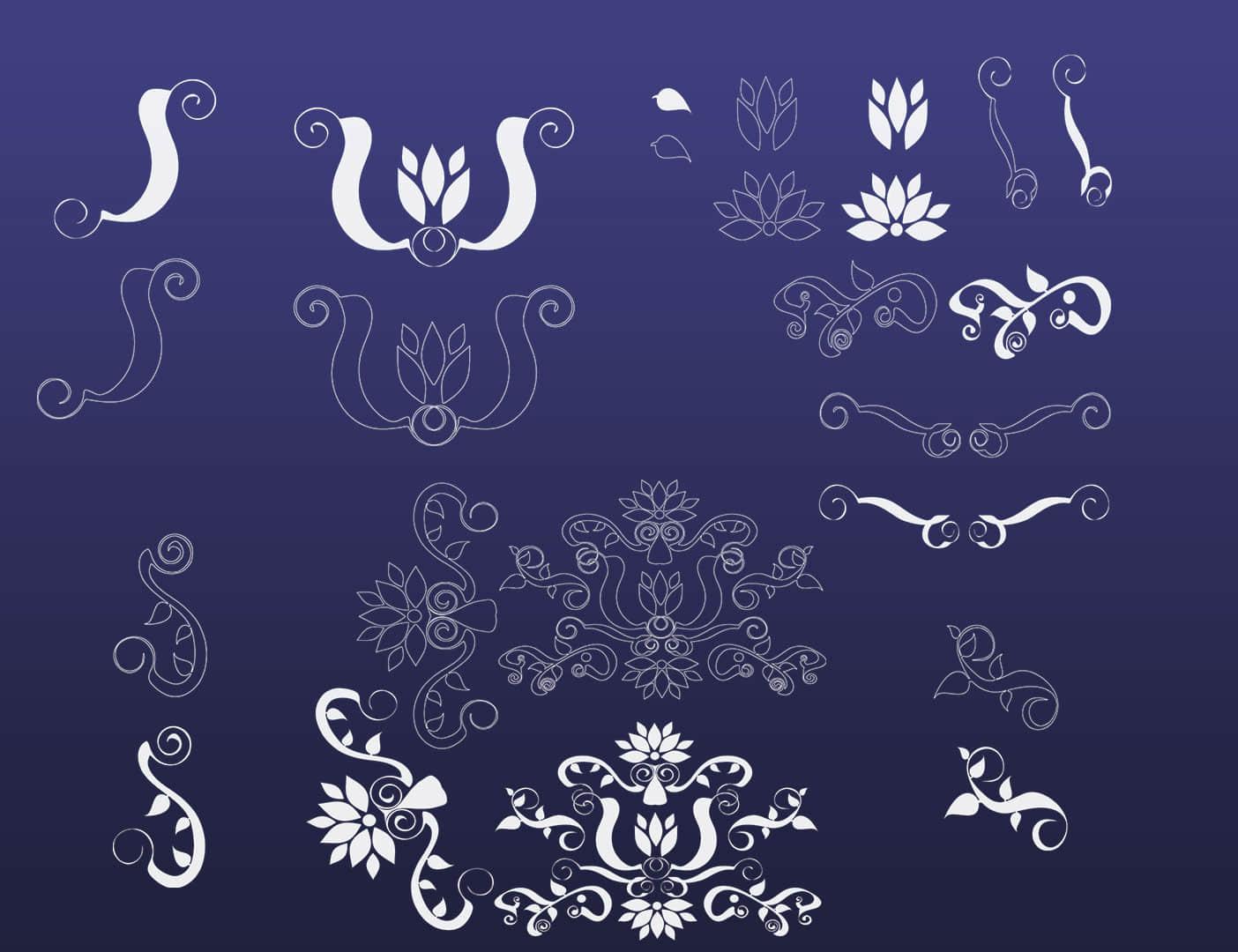装饰性花纹图案、欧式花纹PS笔刷下载 艺术花纹笔刷 植物花纹笔刷  adornment brushes
