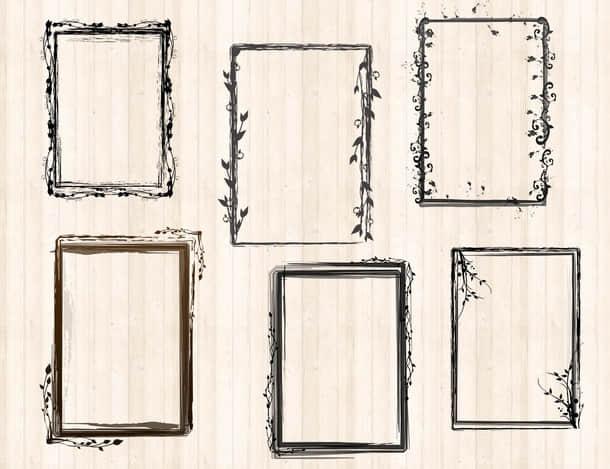 花卉、植物花纹边框、相框、画框、框架PS笔刷下载 边框笔刷 相框笔刷 画框笔刷 框架笔刷  adornment brushes