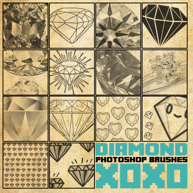 钻石、手绘钻石图形、线框钻石PS笔刷下载 钻石符号笔刷 钻石笔刷  adornment brushes