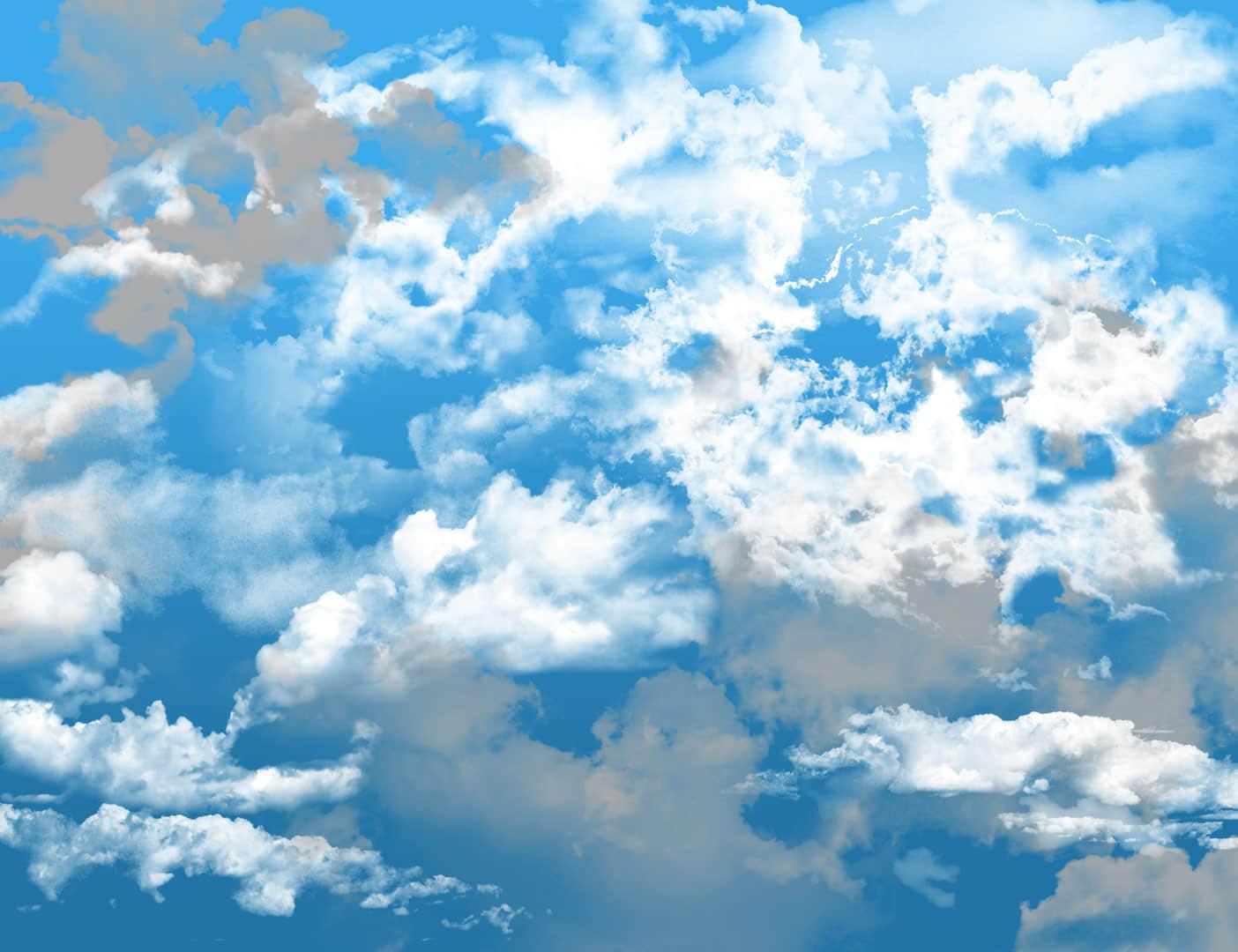蔚蓝天空和白云效果PS笔刷下载 白云笔刷  cloud brushes
