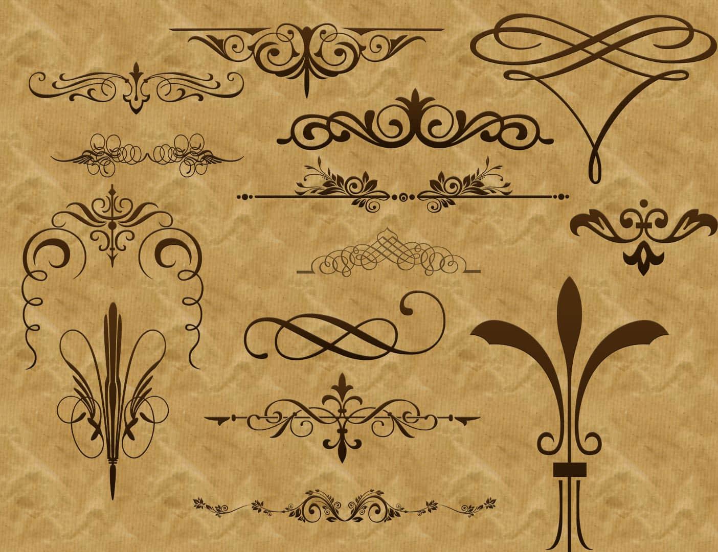 复古式欧洲贵族花纹图案PS笔刷下载 贵族花纹笔刷 花纹艺术笔刷 植物花纹笔刷 复古花纹笔刷 印花笔刷  flowers brushes