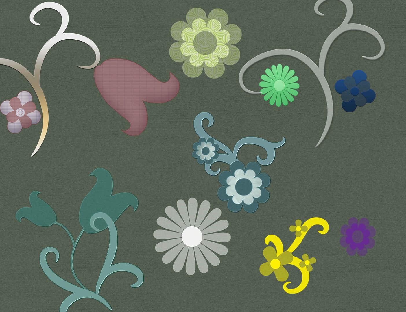 复古式鲜花图案PS笔刷素材下载 鲜花笔刷 花朵笔刷 复古花纹笔刷  flowers brushes