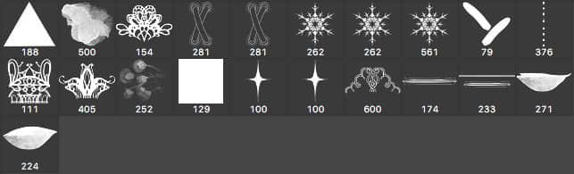21种蕾丝边图案和水彩、星光、三角混合笔刷下载 蕾丝边花纹笔刷 水彩笔刷 星光笔刷  adornment brushes flowers brushes