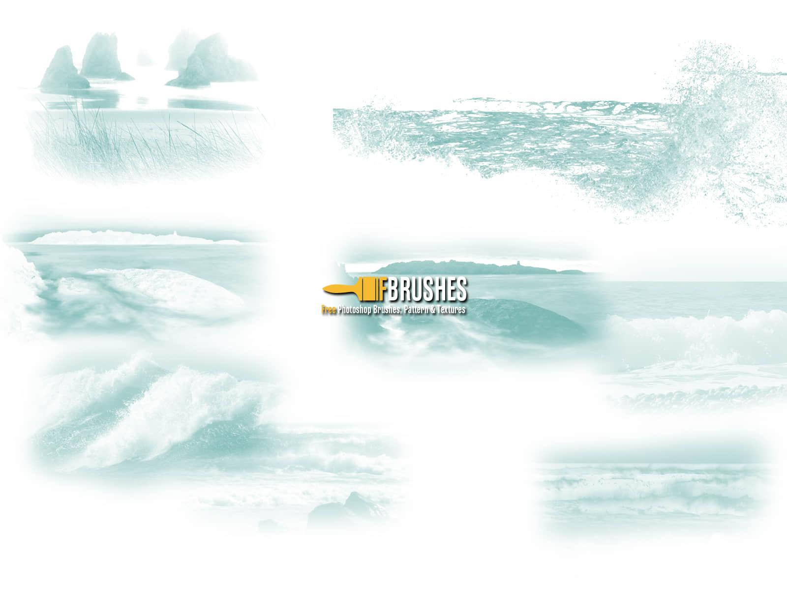 海浪、水花、波浪、海边Photoshop笔刷下载 海浪笔刷 波浪笔刷 大海笔刷  water brushes