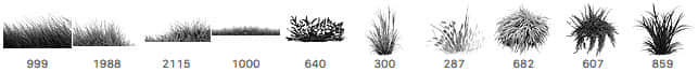10个免费的绿色小草、青草、草坪Photoshop笔刷下载 青草笔刷 草坪笔刷 小草笔刷  plants brushes