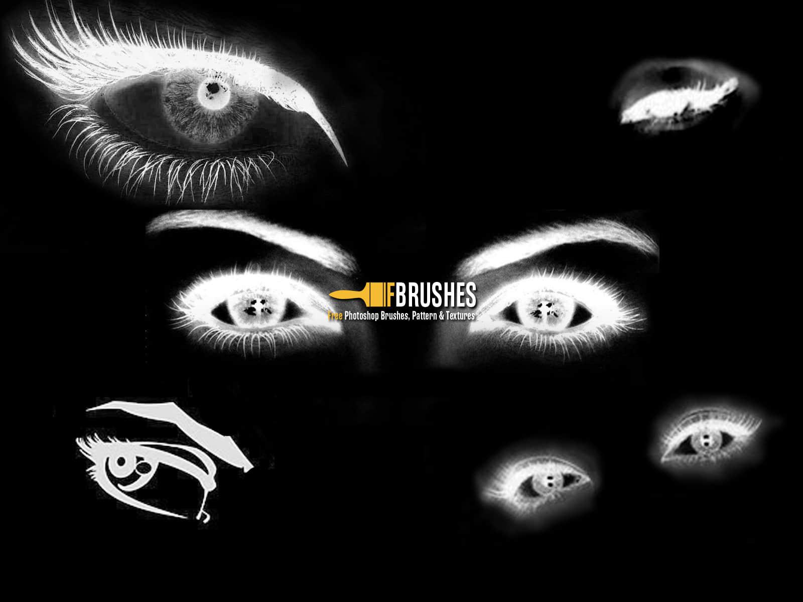 犀利眼神、眼睛Photoshop笔刷素材下载 眼神笔刷 眼睛笔刷  characters brushes